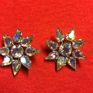 Vintage rhinestone glass earrings
